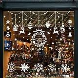 Wokkol Décoration de Noel, Stickers Fenetre Noel Deco Noel Interieur Stickers Noel Vtrine Stickers Reine des Neiges, Amovibles PVC, Rend la Maison Pleine de l'atmosphère de Noël(8 PCS -2 Styles)...