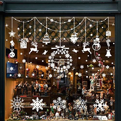 Wokkol Fensterbilder Weihnachten Selbstklebend, Schneeflocken Fensterdeko, Fensterbild Weihnachten, Weihnachts Fensterbilder, für Türen Schaufenster Vitrinen Glasfronten(8 Stück - 2 Stilrichtungen) -