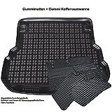 AME Automatten-Experts 232227 5-teiliges Set: Auto-Gummimatten + Gummi-Kofferraumwanne mit Schmutzrand