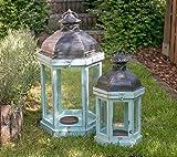 Laternen aus Holz 6eckig Windlicht Kerzenhalter Shabby Chic Auswahl