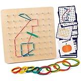Coogam Geoboard di Legno con Carte di Pattern di attività e Bande di Gomma - 8x8 Pin Geometria Geoboard Montessori Forma…