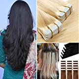 Best Full Hair Remy Hair Extensions - Tape in Hair Extensions Human Hair 20pcs/pack Seamless Review
