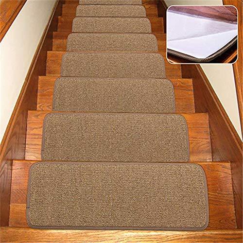 JuneJour Kettelservice-Metzker 13er Set Stufenmatten Rechteckig Treppenteppich Anti-Rutsch-Haushalt Kleberfrei Seltklebend 65 X 24cm, Dunkelbraun 13Pcs