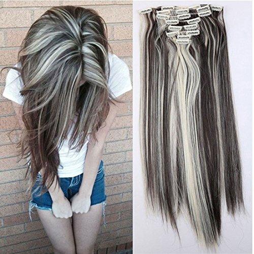 S-noilite® 66cm Glatt 8 teiliges SET Clip in Extensions Haarverlängerung Haarteile (Dunkelbraun & Bleichmittel Blond)