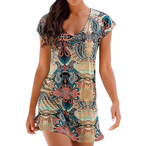 ITISME Vestiti Donna Estivi,Mini Abito Donna Halter NeckBoho Print Senza Maniche Casuale Spiaggia Vestito Estivo Beachwear