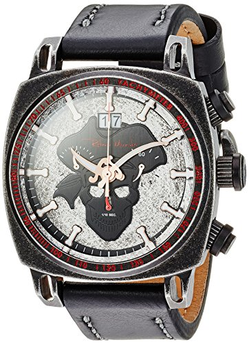 Ritmo Mundo Swiss Quartz Stainless Steel and Leather Casual Watch, Color:Black (Model: 2221/13)