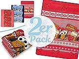 Doppelpack zum Vorteilspreis - weihnachtliche Microfaser-Kuscheldecken - wärmend-weiche Wohndekoration in winterlichem Design in der Größe 150 x 200 cm, Eulen - Frohe Weihnachten