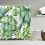 5Größe Polyester Digitaldruck Duschvorhang Badvorhang Blätter Serie Anti-Schimmel Wasserdicht ohne Haken für Heim und Hotel Decor (#3 Blätter, 120*180cm)