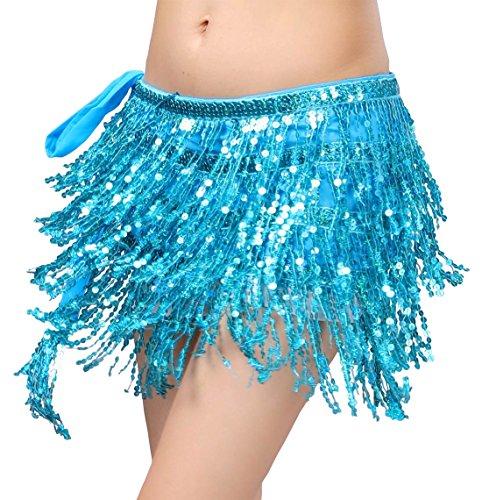 Bellyqueen Kostüm - BellyQueen Damen Bauchtanz Hüfttuch Quasten Taille Bund Belly Dance Taille Kette Tanztuch Muenztuch Muenzguertel-Blau