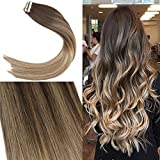 【Neue Laden Promotion】YoungSee 22zoll Balayage Echthaar Tape in Extensions Braun Strahnchen zu Blonde Glatt Remy Seamless Glue in Haarverlangerung 50g/20pcs/pack