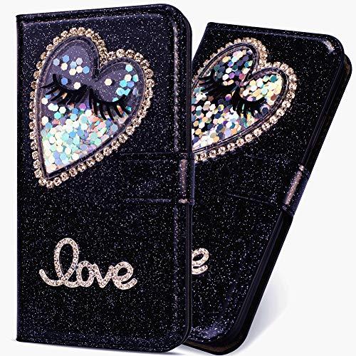 6City8Ni Klassisch Slim Ledertasche Hülle für Huawei P30 Lite,BookStyle Bling Glitzer Flüssig Diamant Schutzhülle Scratch Bumper Flip Folio Wallet Stand Card Slots Pocket Magnetverschluss Leder Etui -
