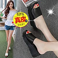 fankou Summer Women Shoes Thick Women Fashion High-Heeled Slippers Summer Cool and Things to Wear with Cold on The Slopes of,37, Black Slippers.