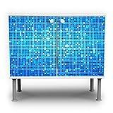 banjado - Badunterschrank 60x55x35cm Design Waschbeckenunterschrank mit Motiv Blue Matrix