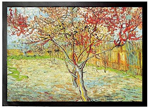 Preisvergleich Produktbild 1art1 97016 Vincent Van Gogh - Blühender Pfirsichbaum, Erinnerung An Mauve, 1888 Fußmatte Türmatte 70 x 50 cm