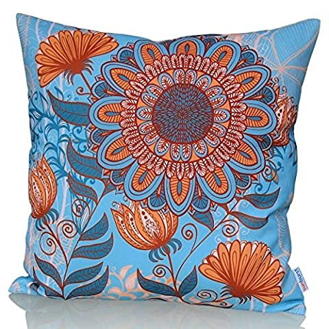Sunburst Outdoor Living 50cm x 50cm (With Piping) CHAMPION Orange Flower Decorative Throw Pillow Cushion Cover for Couch, Bed, Sofa or Patio - Only Case, No Insert