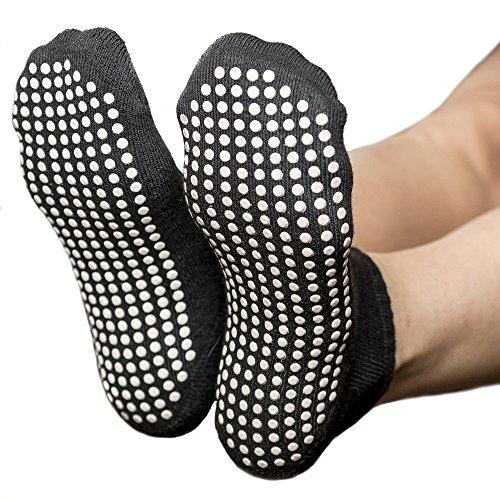Skyba Anti Rutsch Socken Stoppersocken Noppensocken für Damen- Grips für Barre, Pilates, Yoga, Schwangerschaft- (Multi Pack) (EU 35-38, 2-Paar Schwartz)