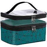 mreechan borsa cosmetica, doppia Make Up Organizer Bag impermeabile, vano trasparente superiore, borsa cosmetica viaggio, mak