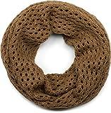 styleBREAKER sciarpa scaldacollo in maglia traforata, sciarpa ad anello in maglia traforata a tinta unita, sciarpa invernale in maglia, unisex 01018156, colore:Cognac