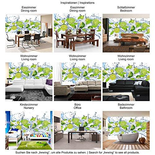 Vlies Fototapete 350×245 cm PREMIUM PLUS Wand Foto Tapete Wand Bild Vliestapete – Kulinarisches Tapete Limetten Wasser Blätter Tropfen Obst Frucht grün – no. 864 - 5