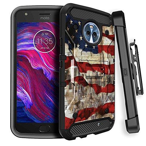 Rugged Moto X42017Max Guard Handy Schutzhülle [Karbonfaser-miniturtle Rugged Clip Case für Motorola Moto X4] drehbarem Gürtelclip Holster und Solides Design Ständer, American Flag NY - Entsperrt X Motorola Handy