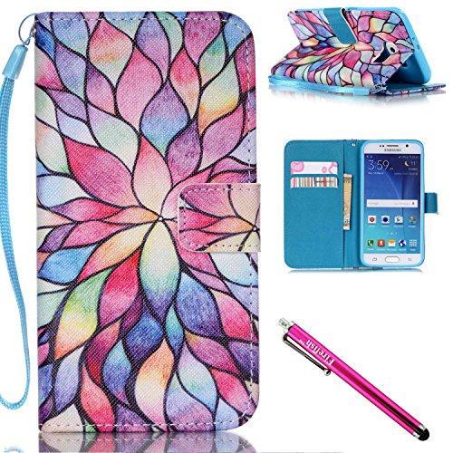Funda-Galaxy-S6-Ranuras-para-tarjetas-Kickstand-Flip-Folio-cuero-sinttico-Shell-Cartera-resistente-a-araazos-cubierta-protectora-para-Samsung-Galaxy-S6