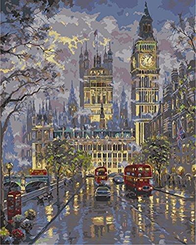 YEESAM ART Neuerscheinungen Malen nach Zahlen für Erwachsene Kinder - London Straße Regen Bus 16 * 20 Zoll Leinen Segeltuch - DIY ölgemälde ölfarben Weihnachten Geschenke (London im Regen, Ohne Frame)