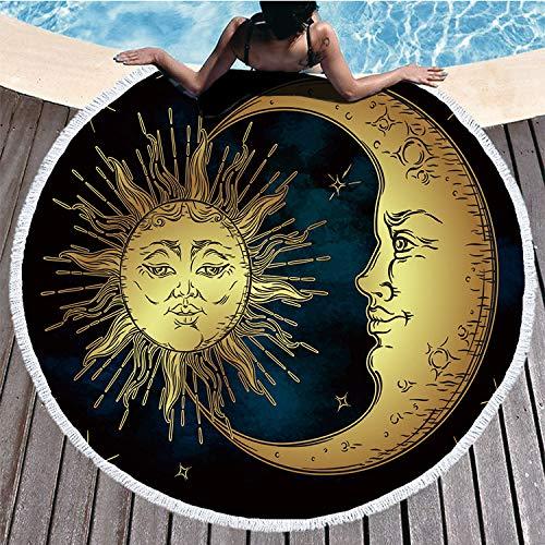 Shengbuzailai Crescent Moon Round Badetuch Sterne Himmlische Quaste Tapisserie Retro Boho Yoga Matte Toalla Decke 150Cm * 150Cm Ee (Ee Klammer)