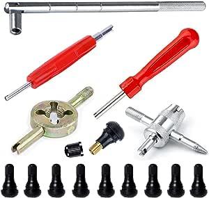 Qisf Reifenventil Werkzeug Set Reifenventilentferner Ventilwerkzeuge Mit 10 Stück Tr 412 Reifenventile Auto