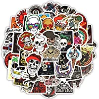 Zorux - 50 PCS Skeleton Sticker Ghost Skull Punk Rock Motorcycle Scrapbooking Stickers to DIY Laptop Skateboard Luggage Guitar Bicycle