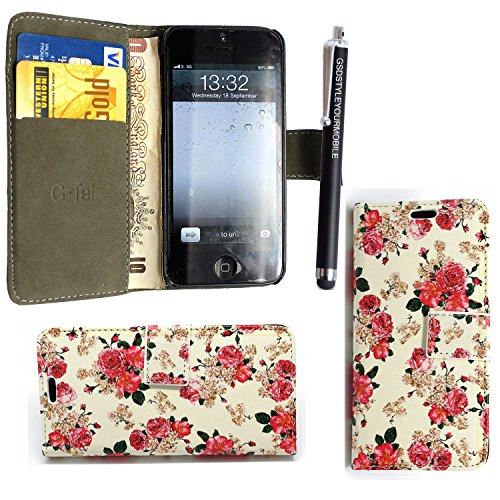 NEW APPLE IPHONE 5C VARIOUS PU LEDER FLIP CASE COVER HÜLLE ETUI TASCHE Schutzhülle + GUARD +STYLUS (Roses on White Book) Roses on White Book