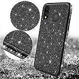 Uposao Custodia Compatibile con Samsung Galaxy M20,Placcatura Bella Silicone Custodia Brillantini Glitter Diamante Strass Cover Morbida Soft TPU Gomma Gel Cover Bumper Case-Nero