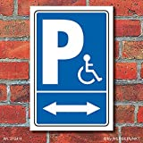 Schild Behinderten Parkplatz Rollstuhl Fahrer Park verbot 2 Pfeile Alu-Verbund 450 x 300 mm
