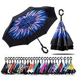 Paraguas de doble capa invertido Jooayou con mango en forma de C, plegable, resistente a los...