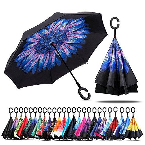 Paraguas de doble capa invertido Jooayou con mango en forma de C, plegable, resistente a los rayos UV y al viento, para viajar, con bolsa de transporte, Mujer, Blue Daisy