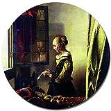 Bilderdepot24 Kunstdruck - Alte Meister - Jan Vermeer - Briefleserin am offenen Fenster - RUND - 40 cm - Leinwandbilder - Bild auf Leinwand