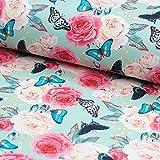 Stoff Sweatshirt Stoff Rosen Schmetterlinge, Digitaldruck