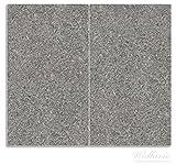Wallario Herdabdeckplatte / Spritzschutz aus Glas, 2-teilig, 60x52cm, für Ceran- und Induktionsherde, Muster grauer Marmor Optik -Granit - marmoriert