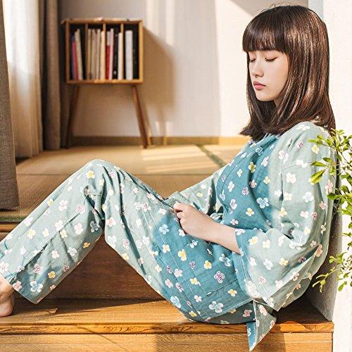 Mann Bär Schwein Kostüm - CWJ Cherry Blossom Bunny Japanische Kimono Pyjamas Zwei Anzug Cardigan Hause Service,Grün,M