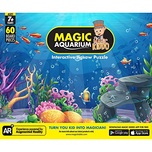 Magickiddo Magic Aquarium (Senior), Interactive Augmented Reality Jigsaw Puzzle, for Kids Age 7+, 1 Puzzle 60 Pieces, Free Android iOS App (Yellow)