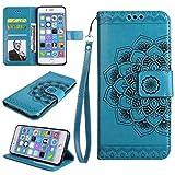 Misteem Coque Galaxy S9 Mandala Vintage, Élégant Fleurs Motif Wallet Etui Antichoc Rétro Cuir Bleu Floral Etui pour Samsung Galaxy S9