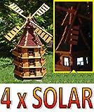 XXL,Windmühle, windmühlen garten, WMB160ro-MS mit Licht,MIT BELEUCHTUNG, windmühle mit solar, für Außen 1,60 m groß, rot, dunkelrot
