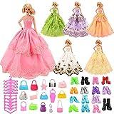 VILLAVIVI 36Pcs Accessoires Barbie Poupée, 6 Partie Robes de soirée Vêtements + 10 Sacs à Main + 10 Paires de Chaussures + 10 Cintres pour Barbie Poupée en Vogue Livraison aléatoire