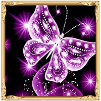 UULIKE DIY Diamond Painting Kits Full Drill, 5D Rhinestone Crystal Embroidery Colorful Phantom Butterfly Pictures Multiple Patterns Pasted Cross Stitch Square Art Craft for Home Decor