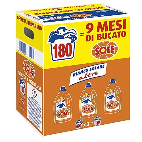 Sole Bianco Solare, Detersivo Lavatrice Liquido, Megapack da 180 Lavaggi, 3 Flaconi da 3 Litri