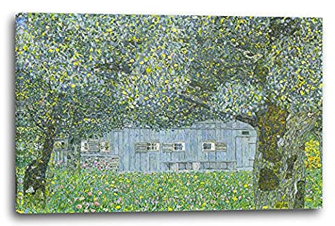 Gustav Klimt - Oberösterreichisches Bauernhaus (60 x 40 cm), Canvas print framed on wooden frame and ready to hang, high quality print made in Germany.
