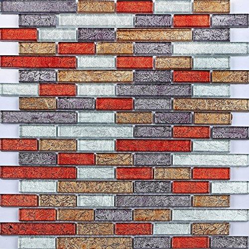Glas Mosaik Fliesen 30cm x 30cm Matte kleine Steine in herbstlichen Farben Rot, Gold, Silber, Schwarz mit fernöstlicher Struktur in Backstein-Design (MT0094)