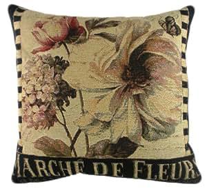 Evans Lichfield Floral tableaux des marches de Fleurs Coussin Tapisserie belge garni de Fibre de Polyester