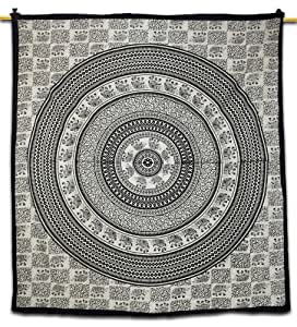 Handicrunch Hippie Table Cloth Mandala Elephant Tapestry Wall Art Black Bedspread Indian Gift 88 x 82 Inches