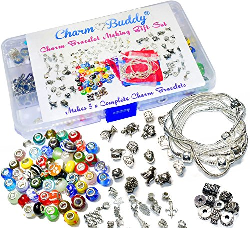Womens Girls 5 x Charm Bracelet Jewellery Making Kit Birthday Party Gift Bead Set