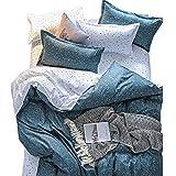 ED-Lumos 4 teilig Bettgarnitur Bettwäsche Set Bettbezug Betttuch Kopfkissenbezug Baumwolle Dunkelblaues Floral 220 cm x 240 cm
